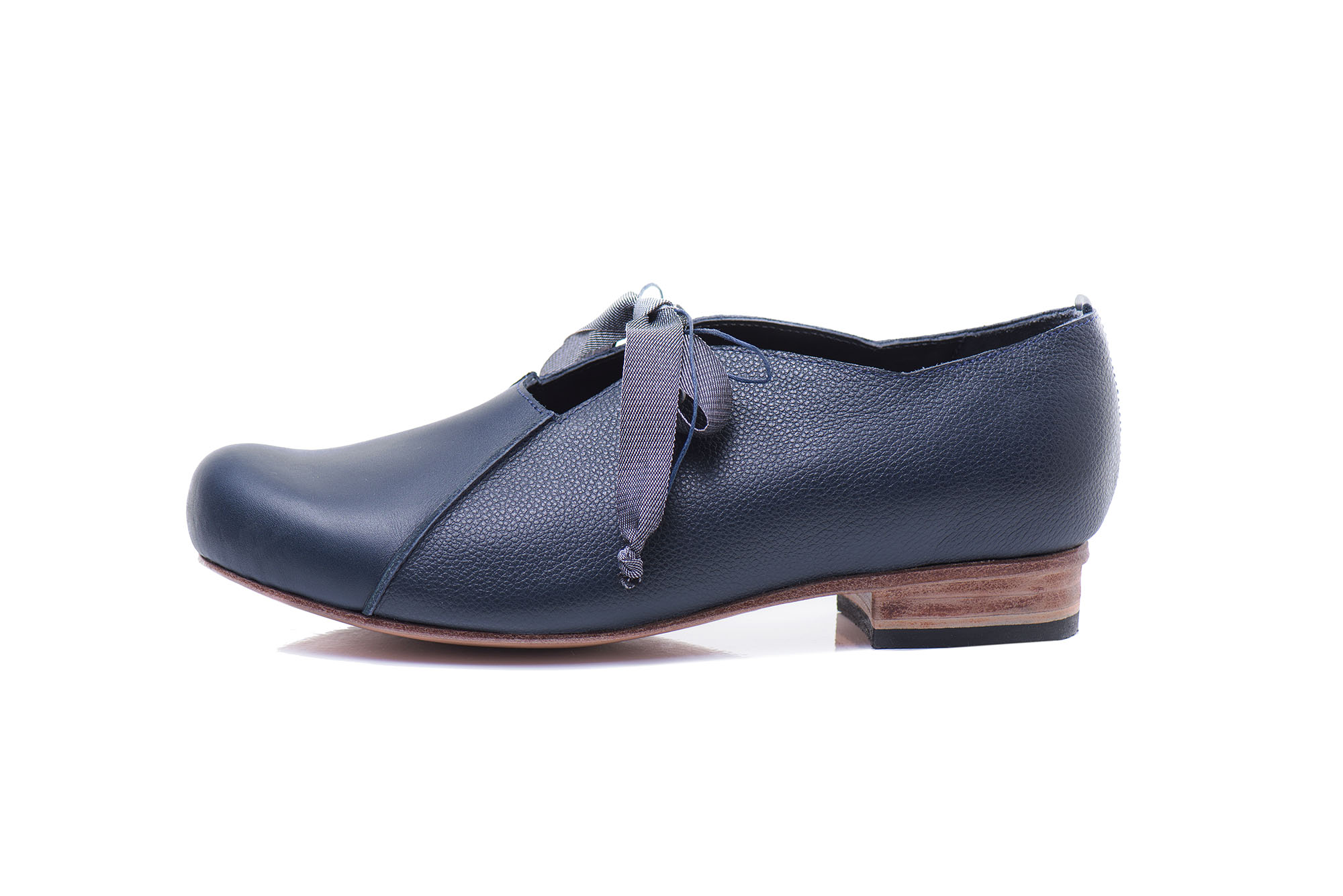 Navy blue leather lace up shoes by June9Concept
