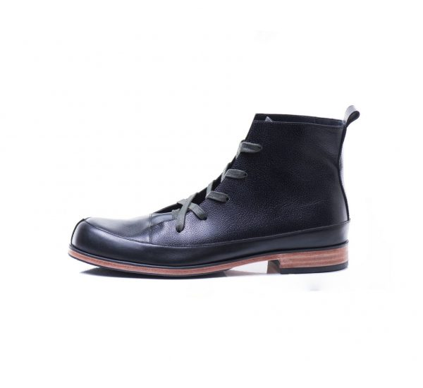 Black leather ankle boots by JUNE9