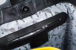 Black and yellow backpack with zipper and carabine by June9Bags