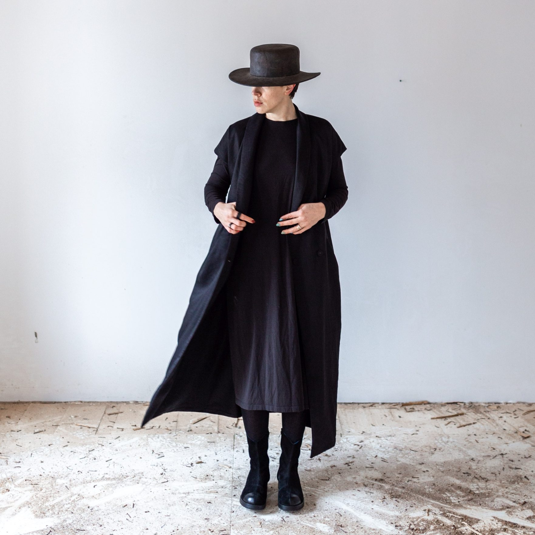 Black linen trenchcoat by June9Concept
