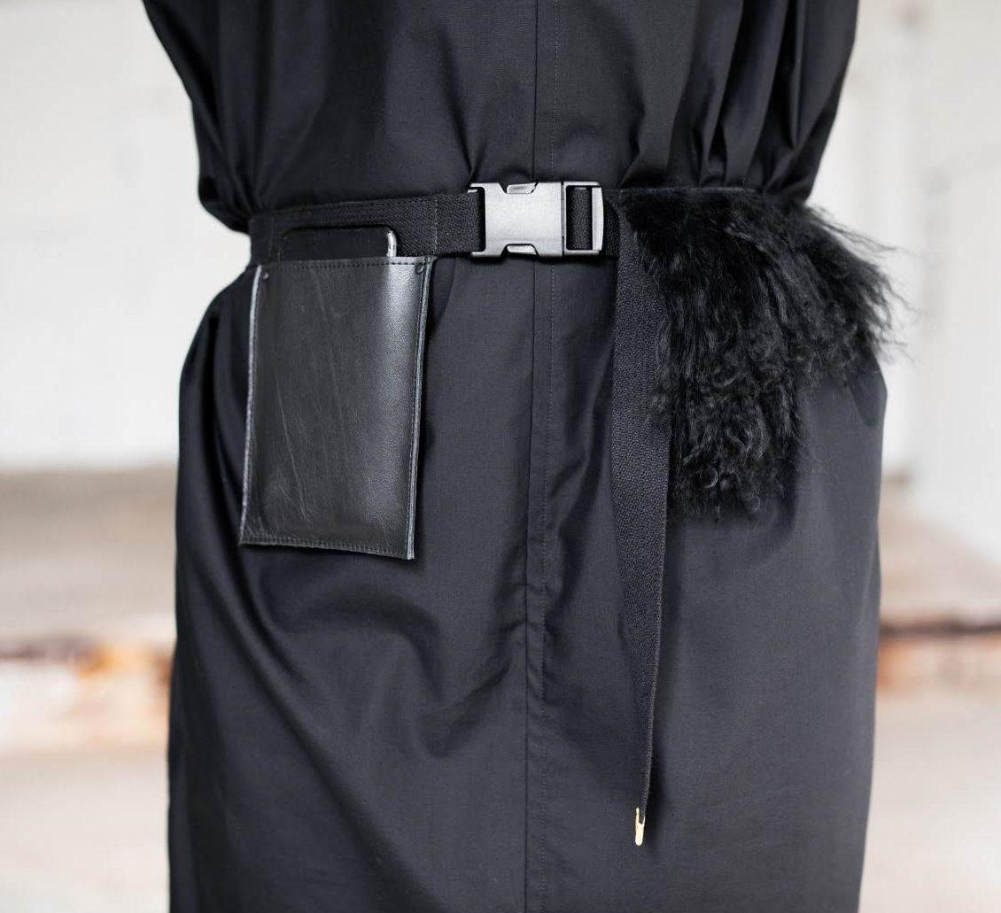 Handmade fashion belt with pocket and Llama fur detail