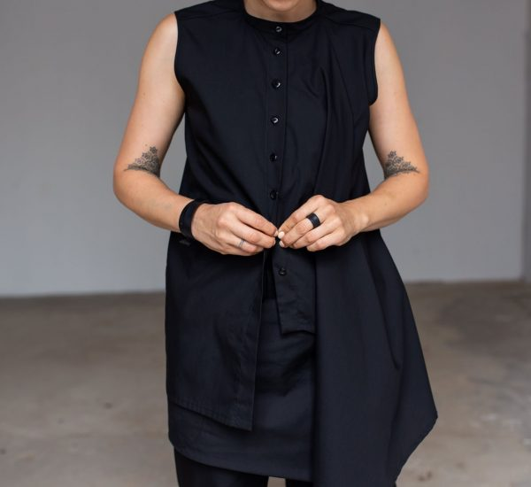 Asymmetric black blouse by June9Concept