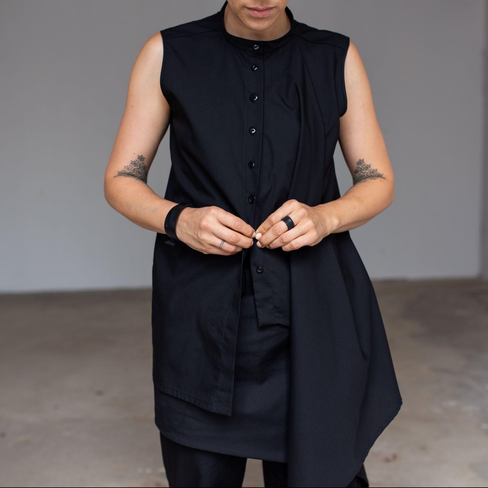 Asymmetric black blouse by June9Concept