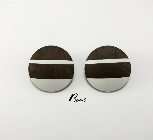 Leather earrings Brown&White