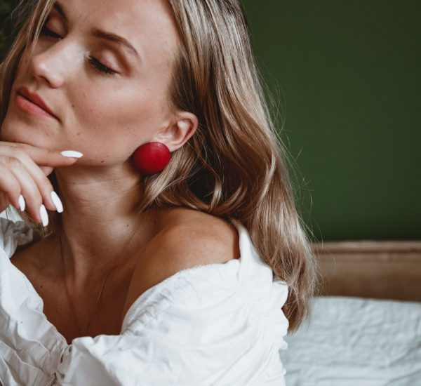 Leather earrings red Bucis Style