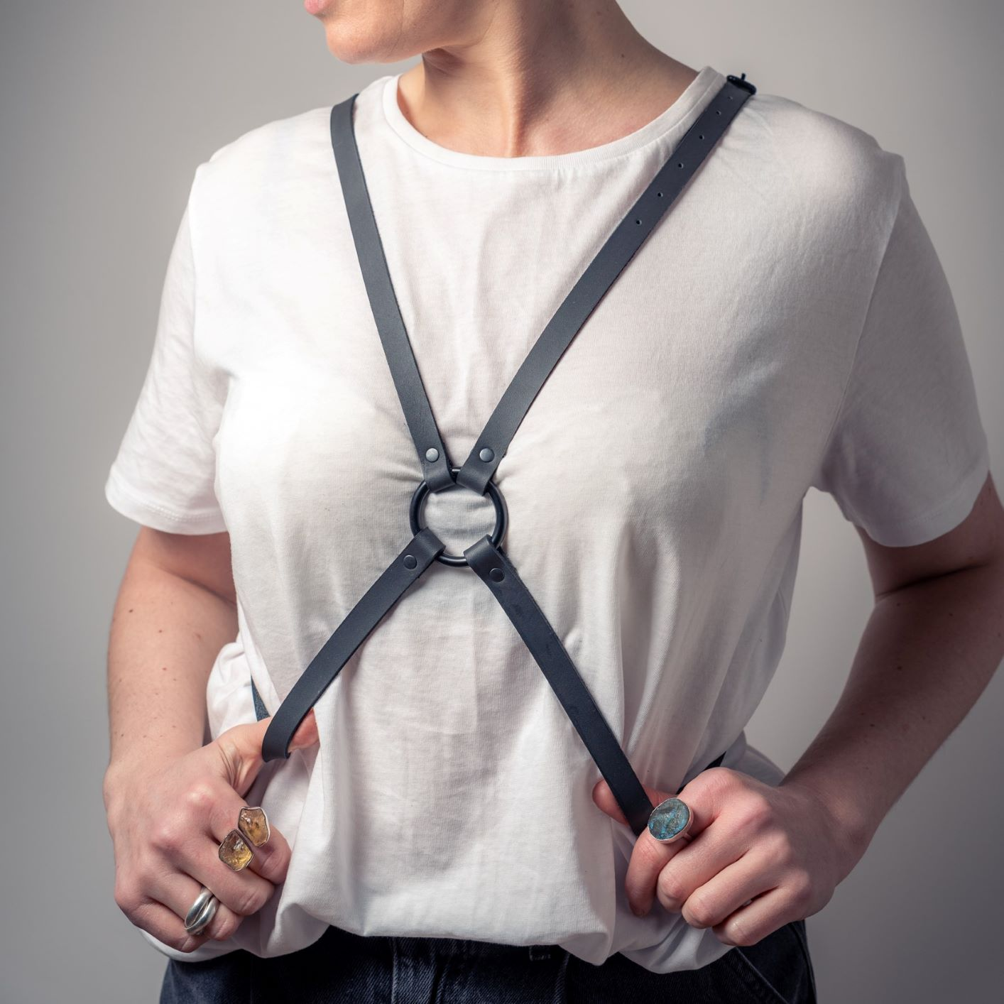 Leather Harness with Ring detail By June9Concept